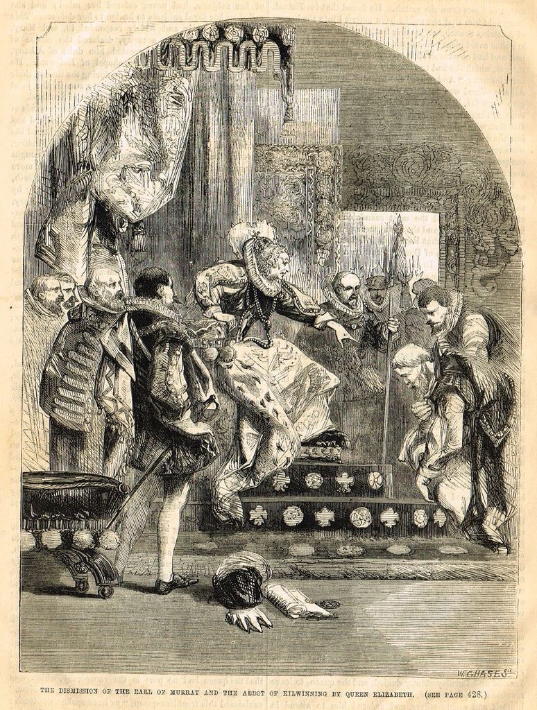"Cassell's History - ""DISMISSION OF EARL OF MURRAY BY QUEEN ELIZABETH"" - Engraving - 1858"