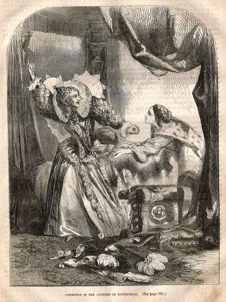 "Cassell's History - ""CONFESSION OF THE COUNTESS OF NOTTINGHAM"" - Engraving - 1858"