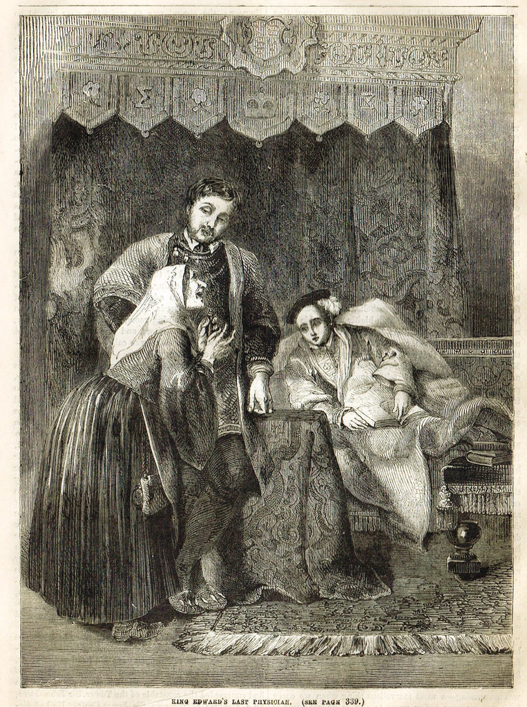 "Cassell's History - ""KING EDWARD'S LAST PHYSICIAN"" - Engraving - 1858"