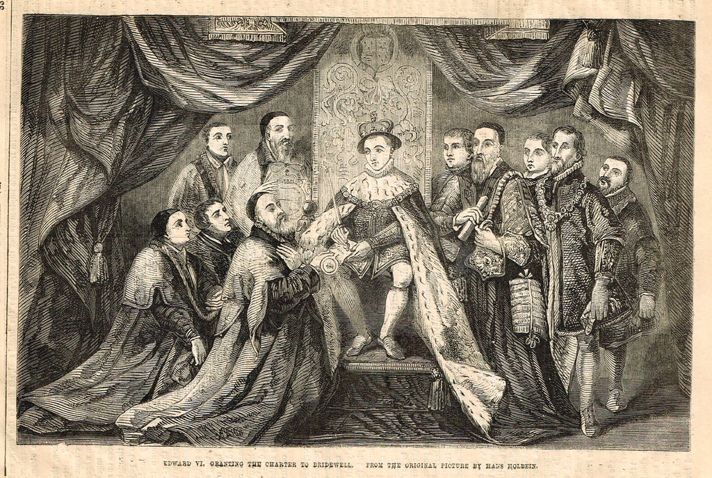 "Cassell's History - ""EDWARD VI GRANTING THE CHARTER TO BRIDEWELL"" - Engraving - 1858"