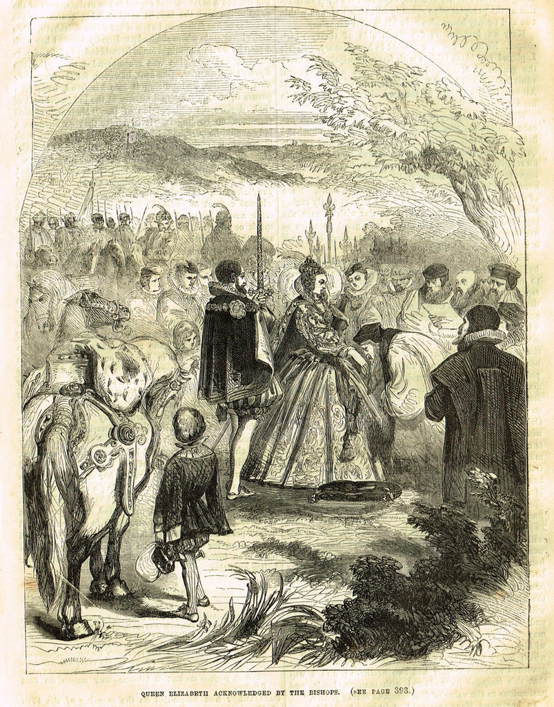 "Cassell's History - ""QUEEN ELIZABETH ACKOWLEDGED BY TH BISHOPS"" - Engraving - 1858"