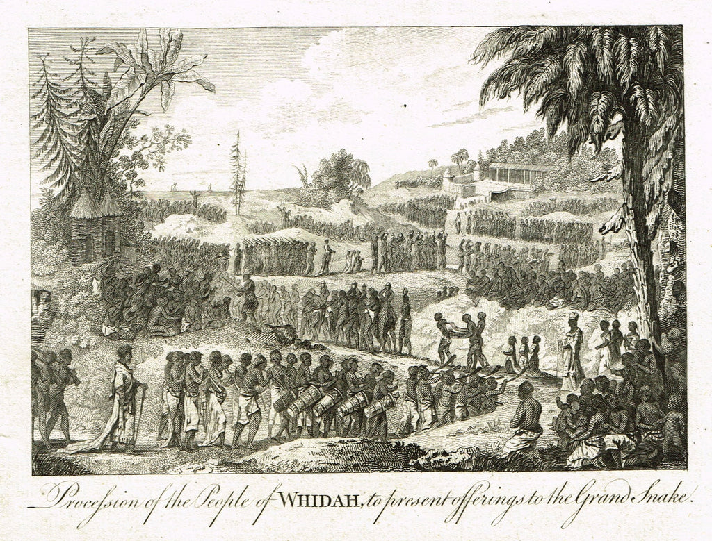 Bankes's Geography - PROCESSION OF THE PEOPLE OF WHIDAH, - Copper Engraving - 1771
