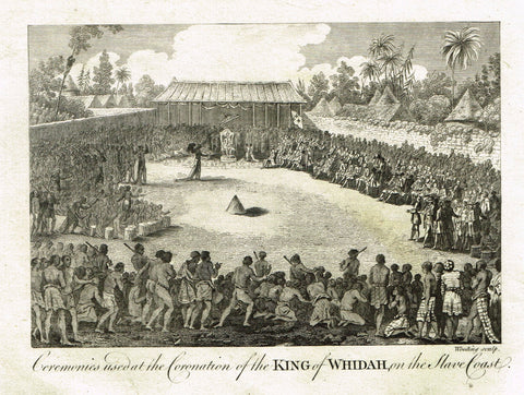 Bankes's Geography - CEREMONIES USED AT CORONATION OF KING OF WHIDAH - Engraving - 1771