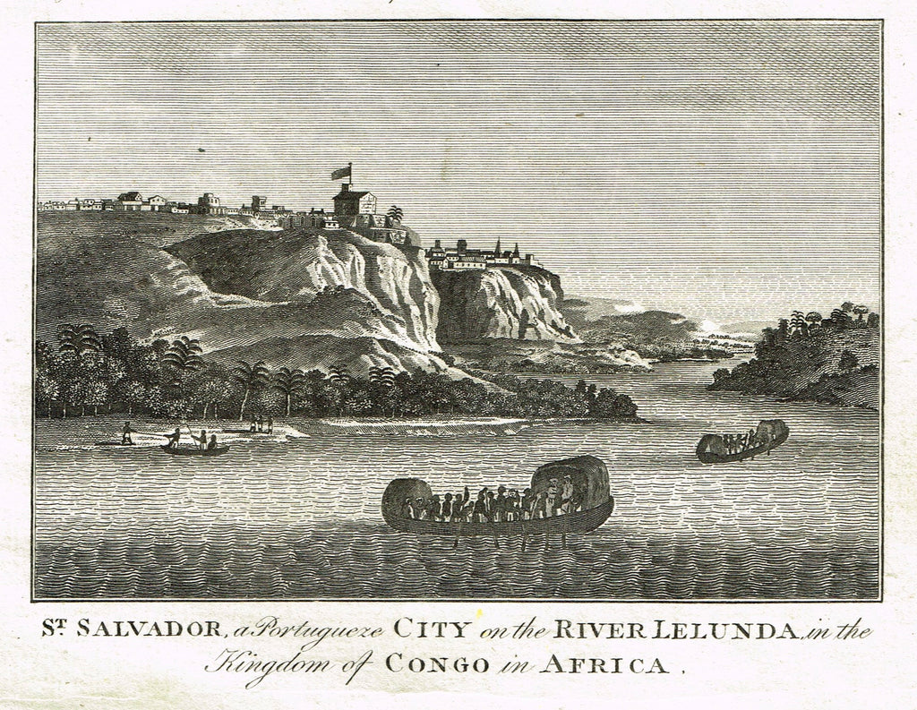 Bankes's Geography - ST. SALVADOR,  PORTUGESE CITY RIVER LELUNDA IN THE CONGO -  Engraving - 1771