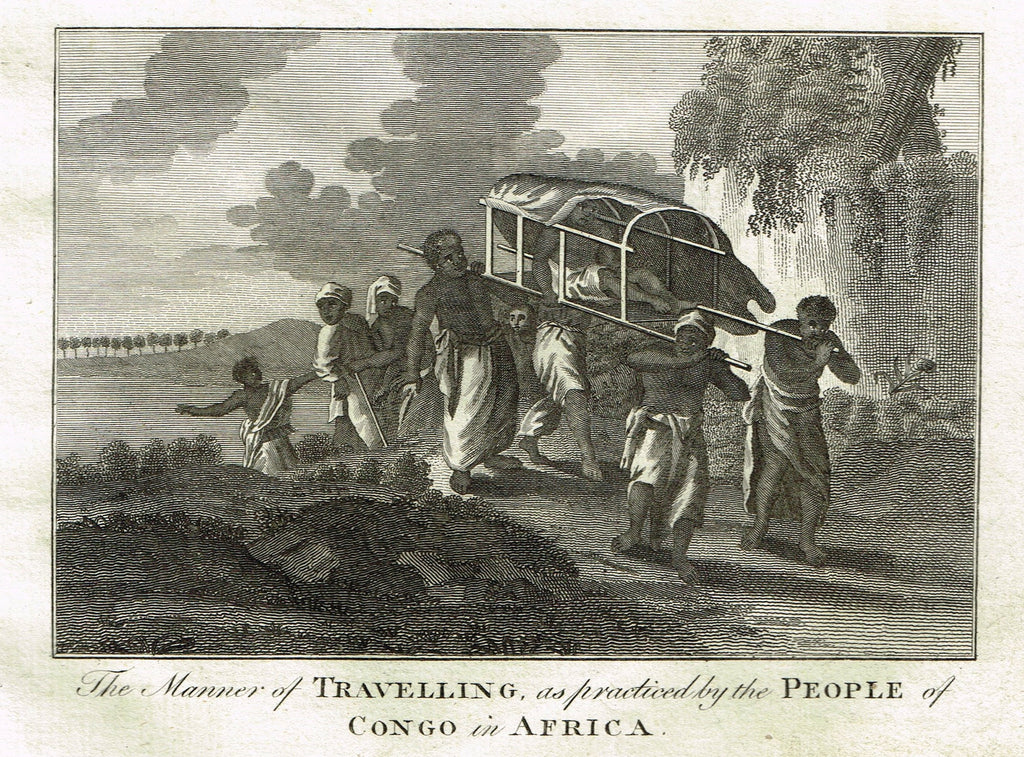 Bankes's Geography - MANNER OF TRAVELLING BY PEOPLE OF CONGO - Engraving - 1771