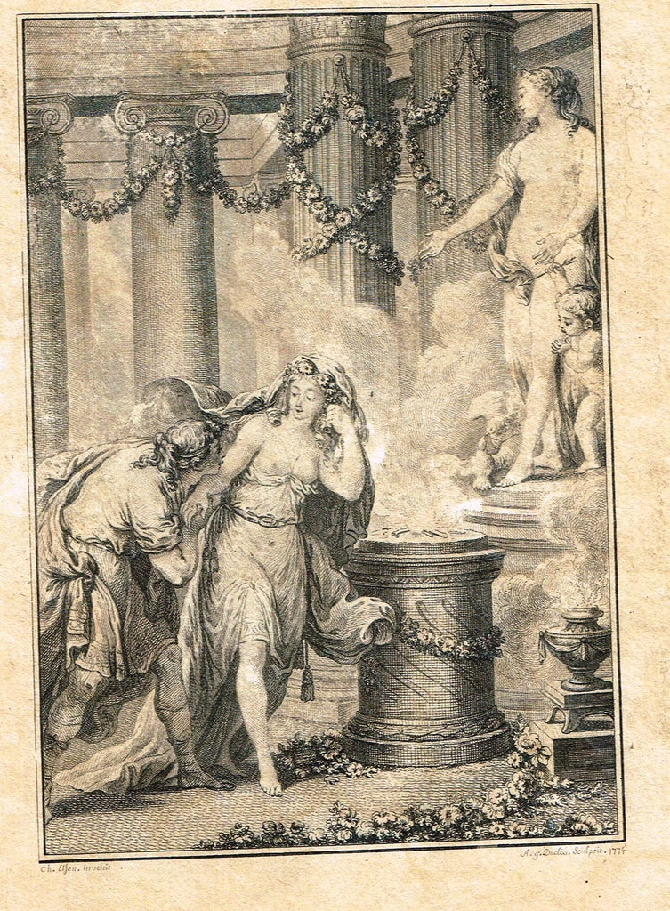 "Fine Art - Lovers - ""LOVERS"" by Duclos - Copper Engraving - 1779"