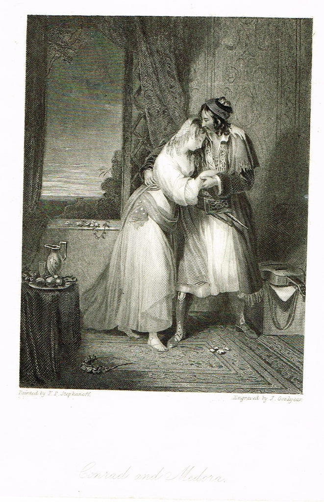 "Fine Art - Lovers - ""CONRAD & MEDORA"" by Goodyear - Steel Engraving - c1840"