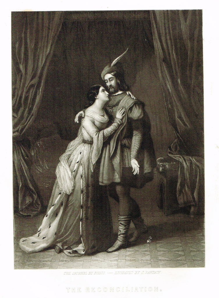 "Fine Art - Lovers - ""THE RECONCILIATION"" by Sartain - Steel Engraving - c1840"