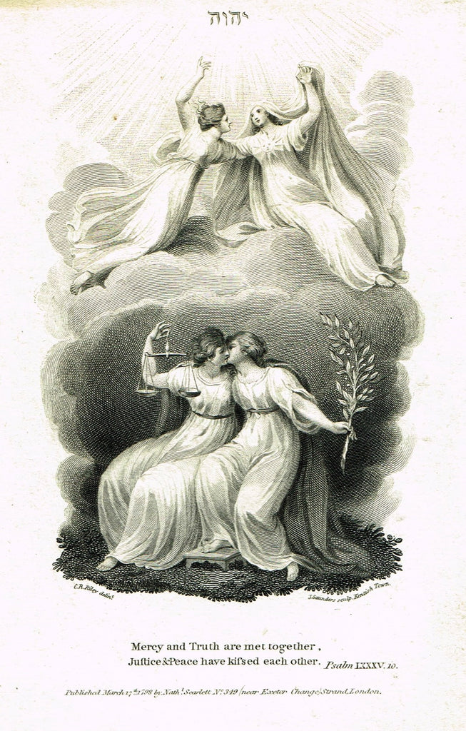 "Fine Art - Lovers - ""MERCY & TRUTH ARE MET TOGETHER"" by Sartain - Steel Engraving - c1840"