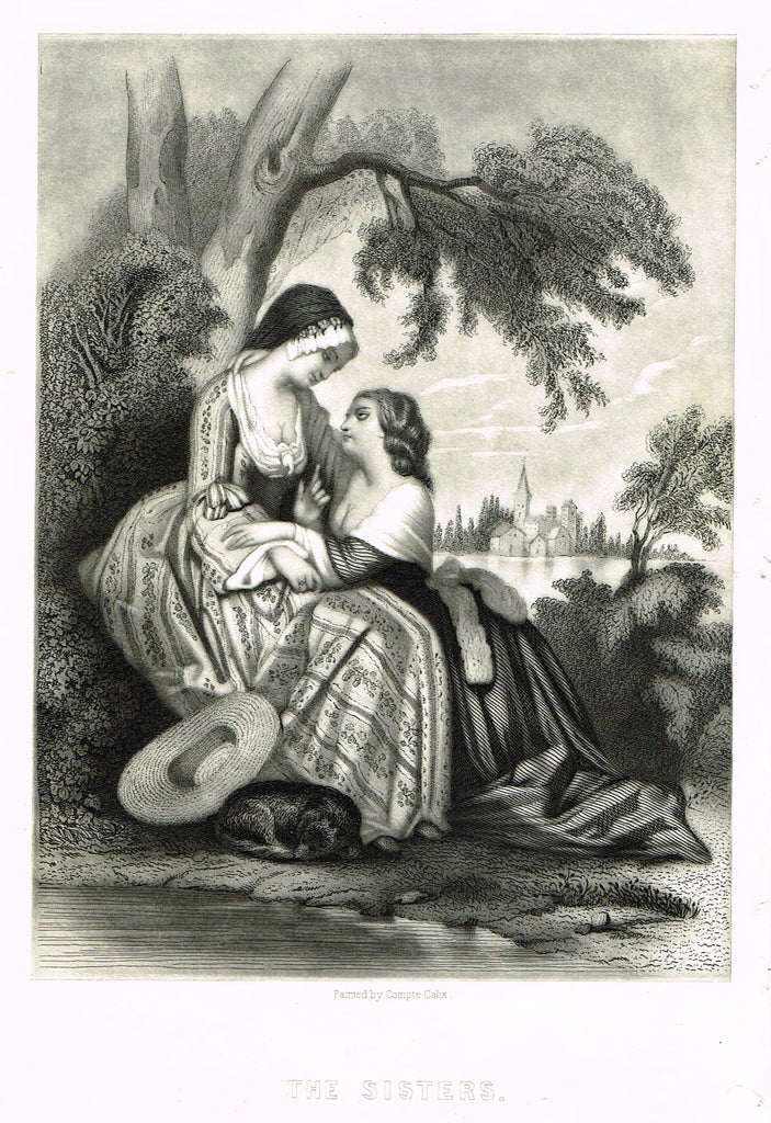 "Fine Art - Lovers - ""THE SISTERS"" by Sartain - Steel Engraving - c1840"