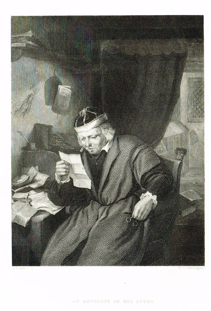 "Fine Art - Genre - ""AN ADVOCATE IN HIS STUDY"" by Worthington - Steel Engraving - c1840"