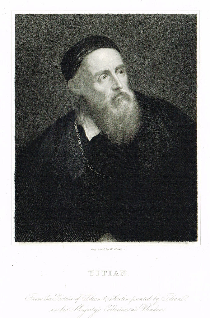"Knight's Gallery of Portraits - ""TITIAN"" - Steel Engraving - 1833"