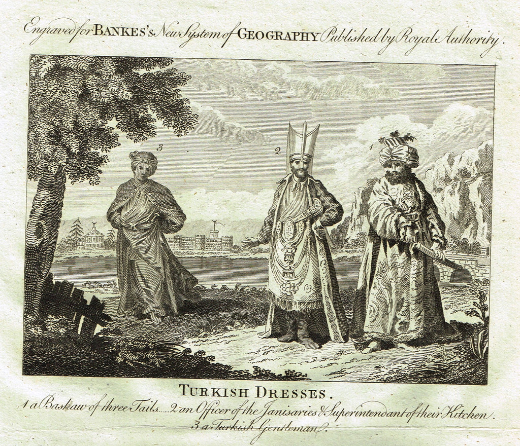 "Bankes's Geography - ""TURKISH DRESSES, A BASHAW OF THREE TAILS"" - Copper Engraving - 1771"