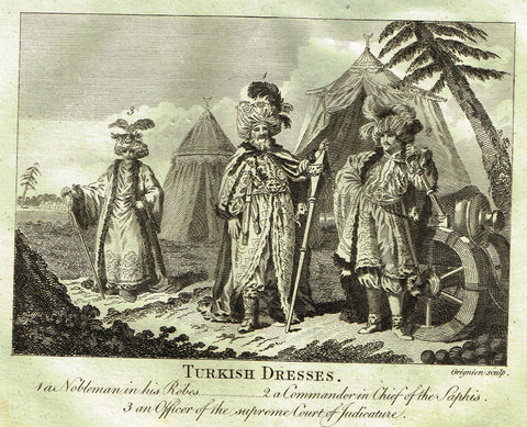 "Bankes's Geography - ""TURKISH DRESSES, A NOBLEMAN IN HIS ROBES"" - Copper Engraving - 1771"