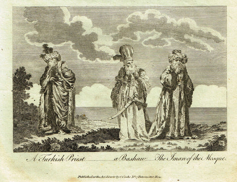 "Bankes's Geography - ""TURKISH DRESSES,  A TURKISH PRIEST"" - Copper Engraving - 1771"