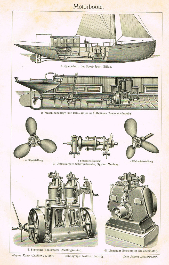 "Marine Print - Meyers Lexicon's  ""MOTORBOOTE (MOTORYACHT)"" - Lithograph - 1913"