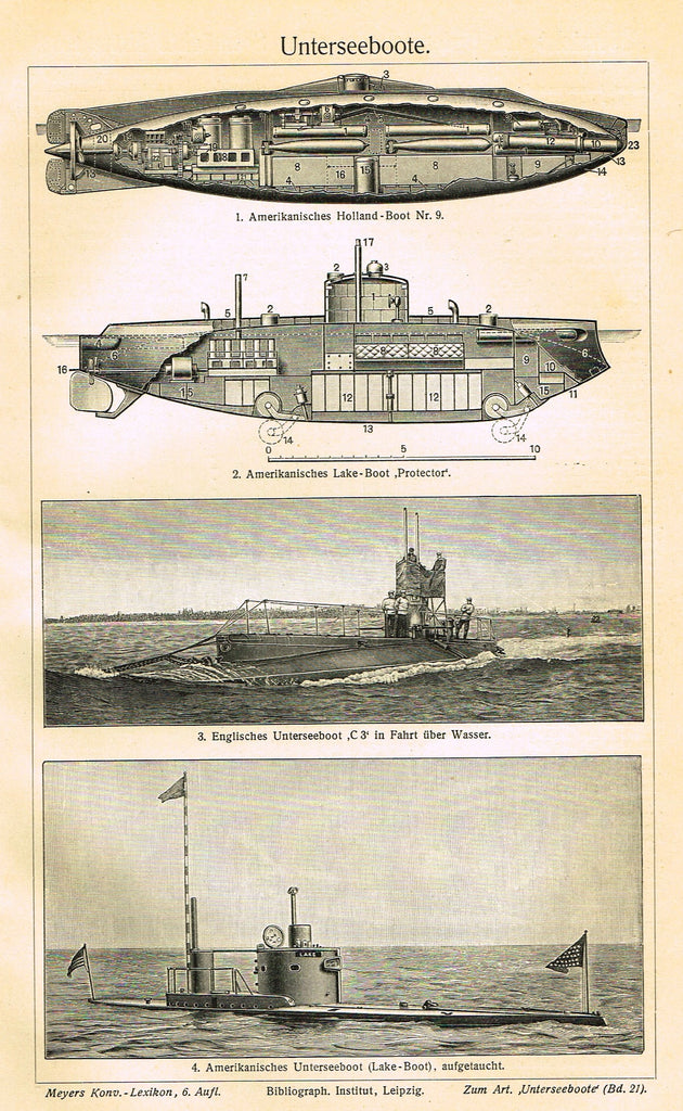 "Marine Print - Meyers Lexicon's  ""SUBMARINE (UNTERSEEBOOTE)"" - Lithograph - 1913"