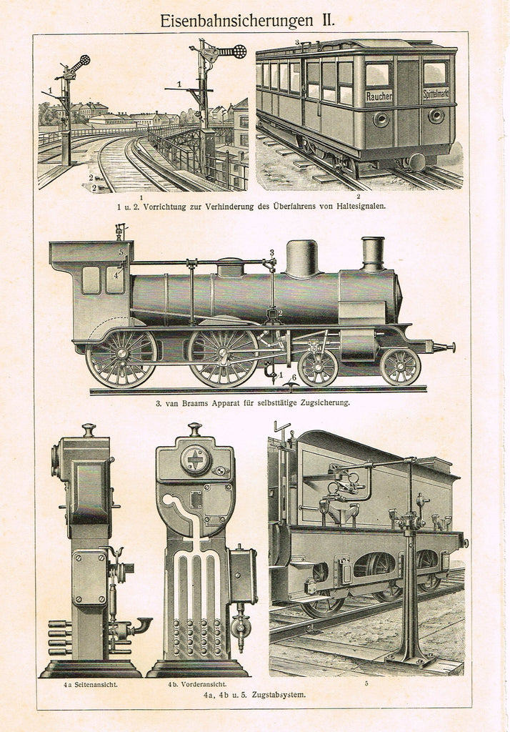 "Myers Lexicon Print - ""EISENBAHNSICHERUNGEN II (TRAIN)"" - Lithograph - 1913"