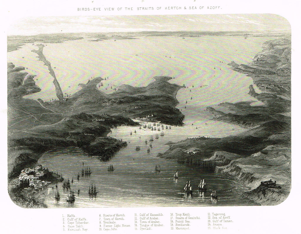 "Military Print - ""BIRDS-EYE VIEW OF THE STERAITS OF KERTCH & SEA OF AZOFF"" - Steel Engraving - c1870"