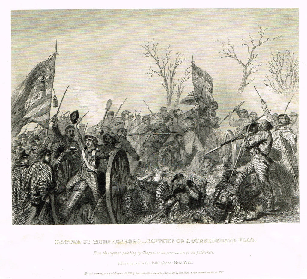 "Military Print - ""BATTLE OF MURFRESBORO - CAPTURE OF A CONFEDERATE FLAG"" - Steel Engraving - c1870"