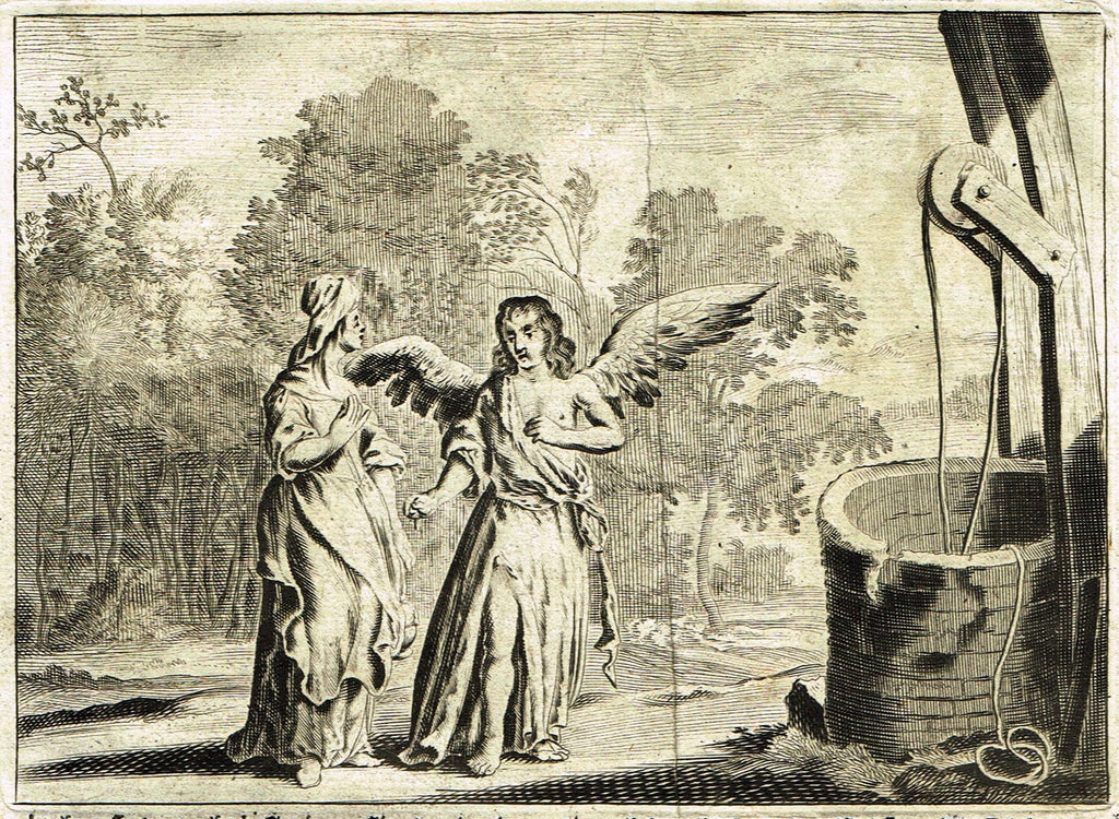 "Merian Bible Print - ""ANGEL MEETS WOMAN AT THE WELL"" - Copper Engraving - 1683"