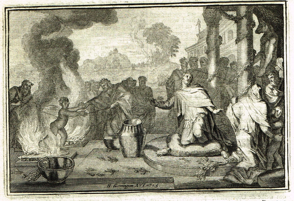 "Dutch Bible Print - ""KONINGEN XVI, VERSE 1-5"" - Copper Engraving - c1700"