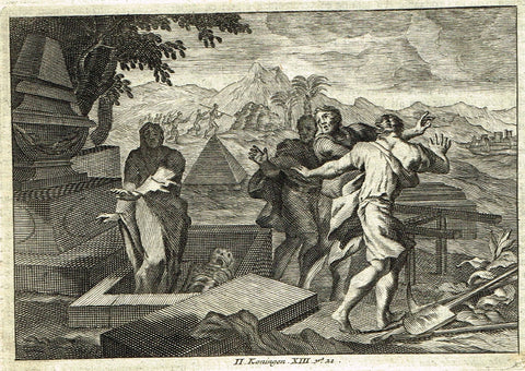 "Dutch Bible Print - ""TOBIAS KAPITTEL V, VERSE 2-5I - "" - Copper Engraving - c1700"