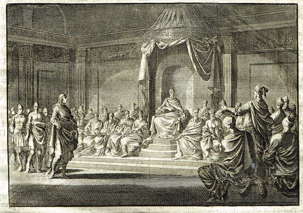 "Luyken Bible Print - ""HYRKANUS HERODES ON THRONE"" - Copper Engraving - 1700"