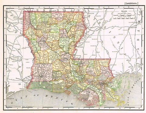 "Rand-McNally's Atlas Map - ""LOUISIANA"" - Chromo Lithogrpah - 1895"