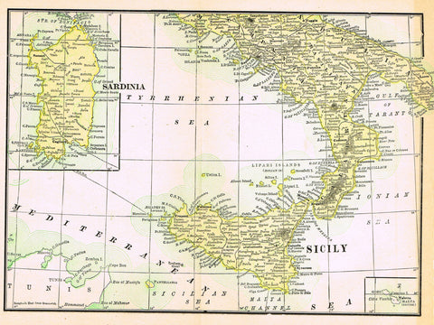 "Rand-McNally's Atlas Map - ""SARDINIA & SICILY"" - Chromo Lithogrpah - 1895"