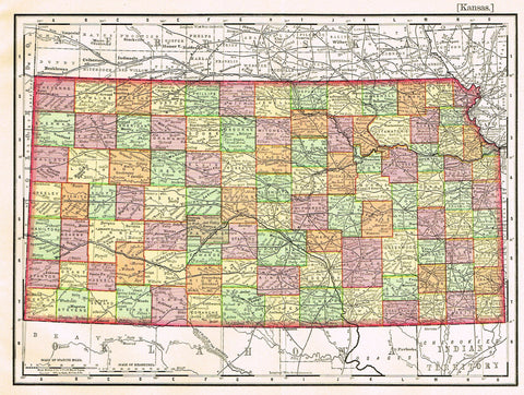 "Rand-McNally's Atlas Map - ""KANSAS"" - Chromo Lithogrpah - 1895"