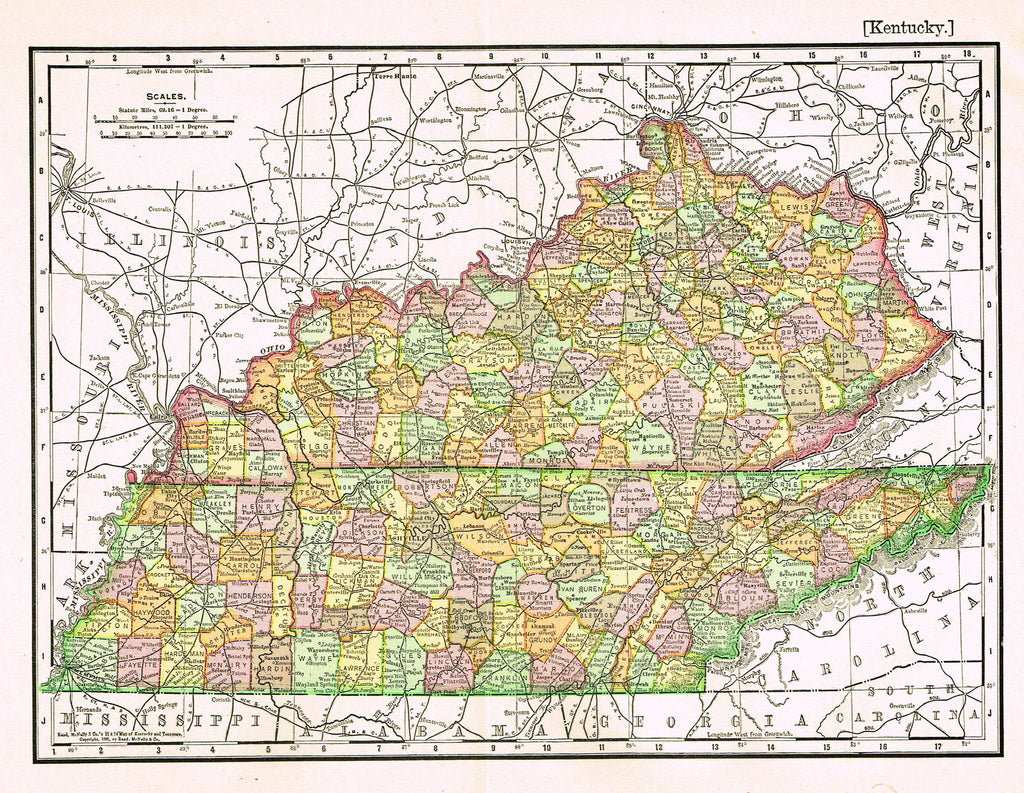 "Rand-McNally's Atlas Map - ""KENTUCKY"" - Chromo Lithograph - 1895"