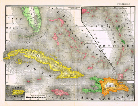 "Rand-McNally's Atlas Map - ""WEST INDIES"" - Chromo Lithograph - 1895"