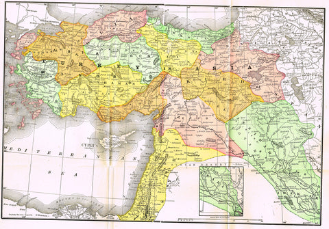 "Rand-McNally's Atlas Map - ""TURKEY IN ASIA"" - Chromo Lithograph - 1895"