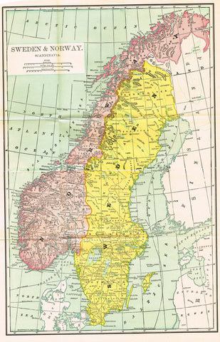 "Rand-McNally's Atlas Map - ""SWEDEN & NORWAY"" - Chromo Lithograph - 1895"