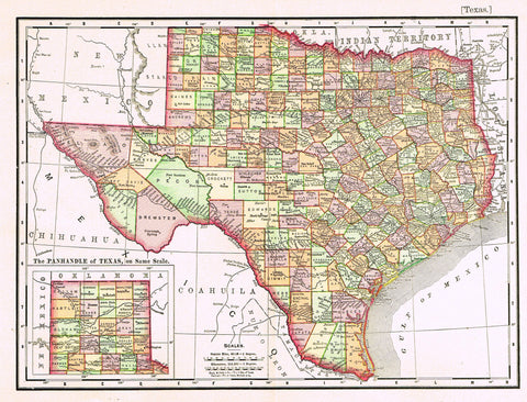 "Rand-McNally's Atlas Map - ""TEXAS"" - Chromo Lithograph - 1895"