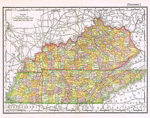 "Rand-McNally's Atlas Map - ""TENNESSEE"" - Chromo Lithograph - 1895"