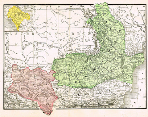 "Rand-McNally's Atlas Map - ""RUMANIA"" - Chromo Lithograph - 1895"