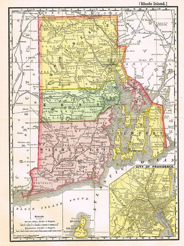 "Rand-McNally's Atlas Map - ""RHODE ISLAND"" - Chromo Lithograph - 1895"