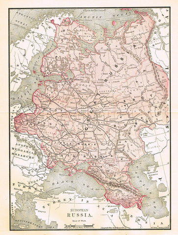 "Rand-McNally's Atlas Map - ""EUROPIAN RUSSIA"" - Chromo Lithograph - 1895"