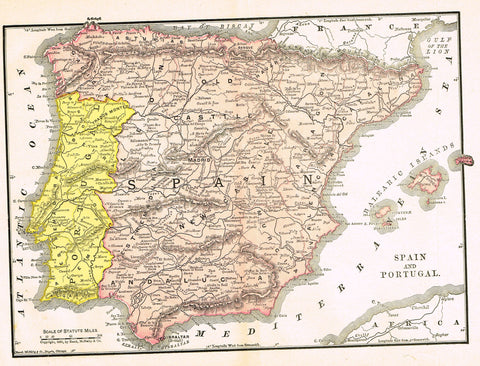 "Rand-McNally's Atlas Map - ""SPAIN"" - Chromo Lithograph - 1895"