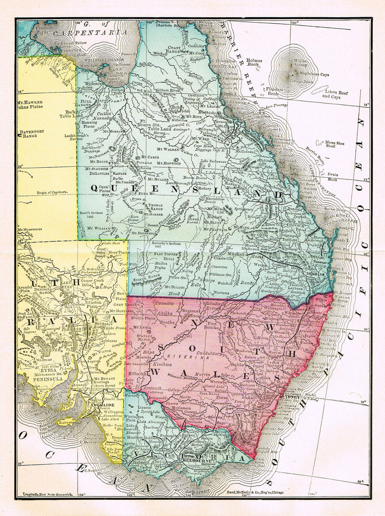 "Rand-McNally's Atlas Map - ""QUEENSLAND & NEW SOUTH WALES"" - Chromo Lithograph - 1895"
