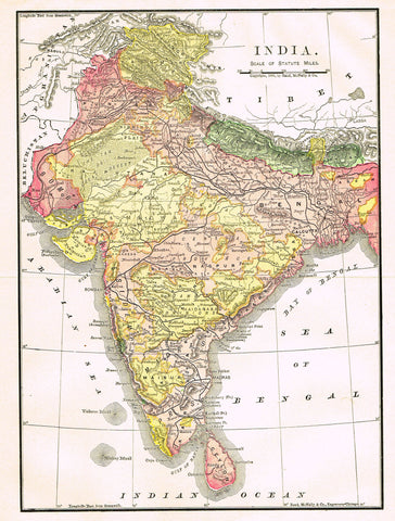 "Rand-McNally's Atlas Map - ""INDIA"" - Chromo Lithograph - 1895"