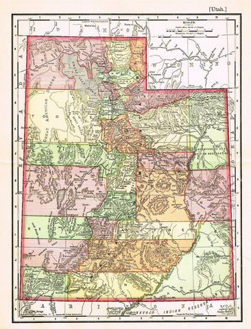 "Rand-McNally's Atlas Map - ""UTAH"" - Chromo Lithograph - 1895"