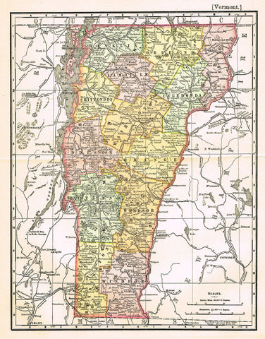 "Rand-McNally's Atlas Map - ""VERMONT"" - Chromo Lithograph - 1895"