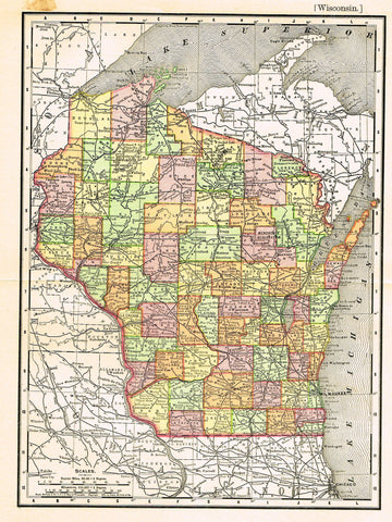 "Rand-McNally's Atlas Map - ""WISCONSIN"" - Chromo Lithograph - 1895"