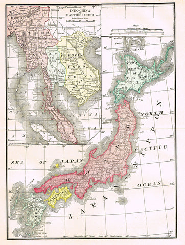 "Rand-McNally's Atlas Map - ""INDO-CHINA"" - Chromo Lithograph - 1895"