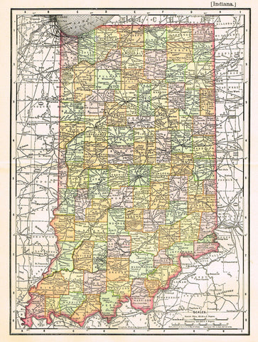 "Rand-McNally's Atlas Map - ""INDIANA"" - Chromo Lithograph - 1895"