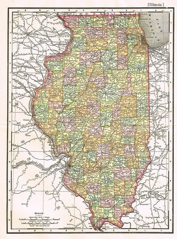 "Rand-McNally's Atlas Map - ""ILLINOIS"" - Chromo Lithograph - 1895"