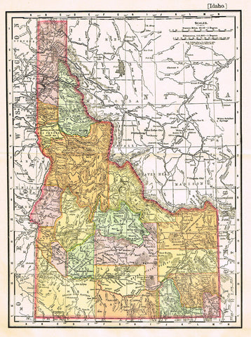 "Rand-McNally's Atlas Map - ""IDAHO"" - Chromo Lithograph - 1895"